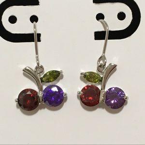 New white GF Tri color cherry dangle earrings